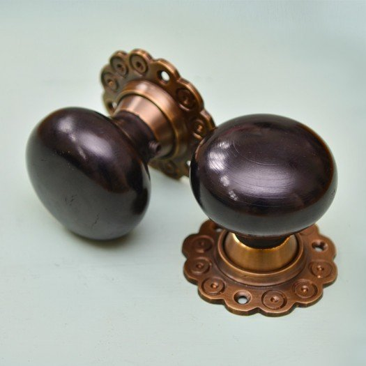 Ebony Bun Door Knobs (Pair) - Aged Brass Collar & Rose