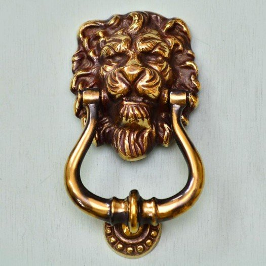 Lions Head Door Knocker - Aged Brass