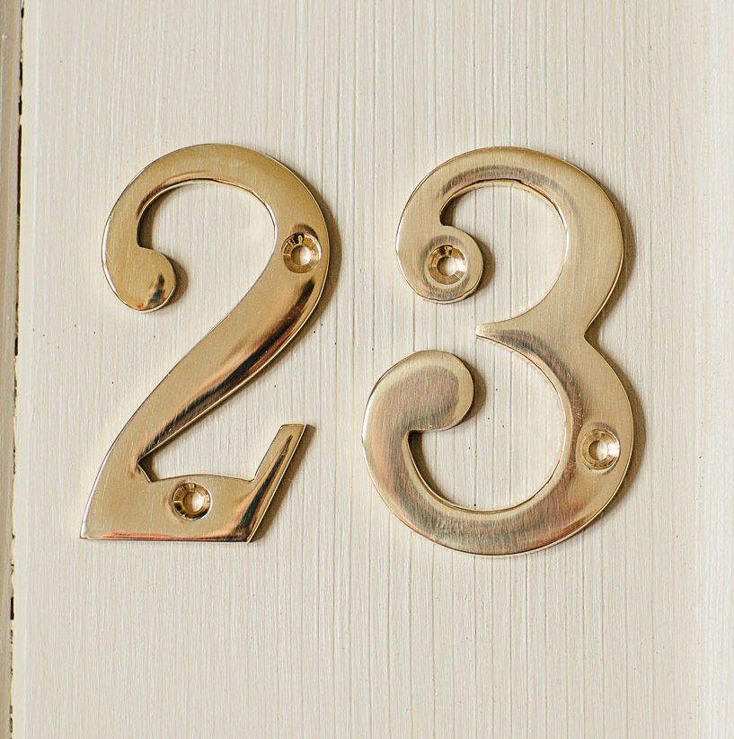House Number '2'  - Brass