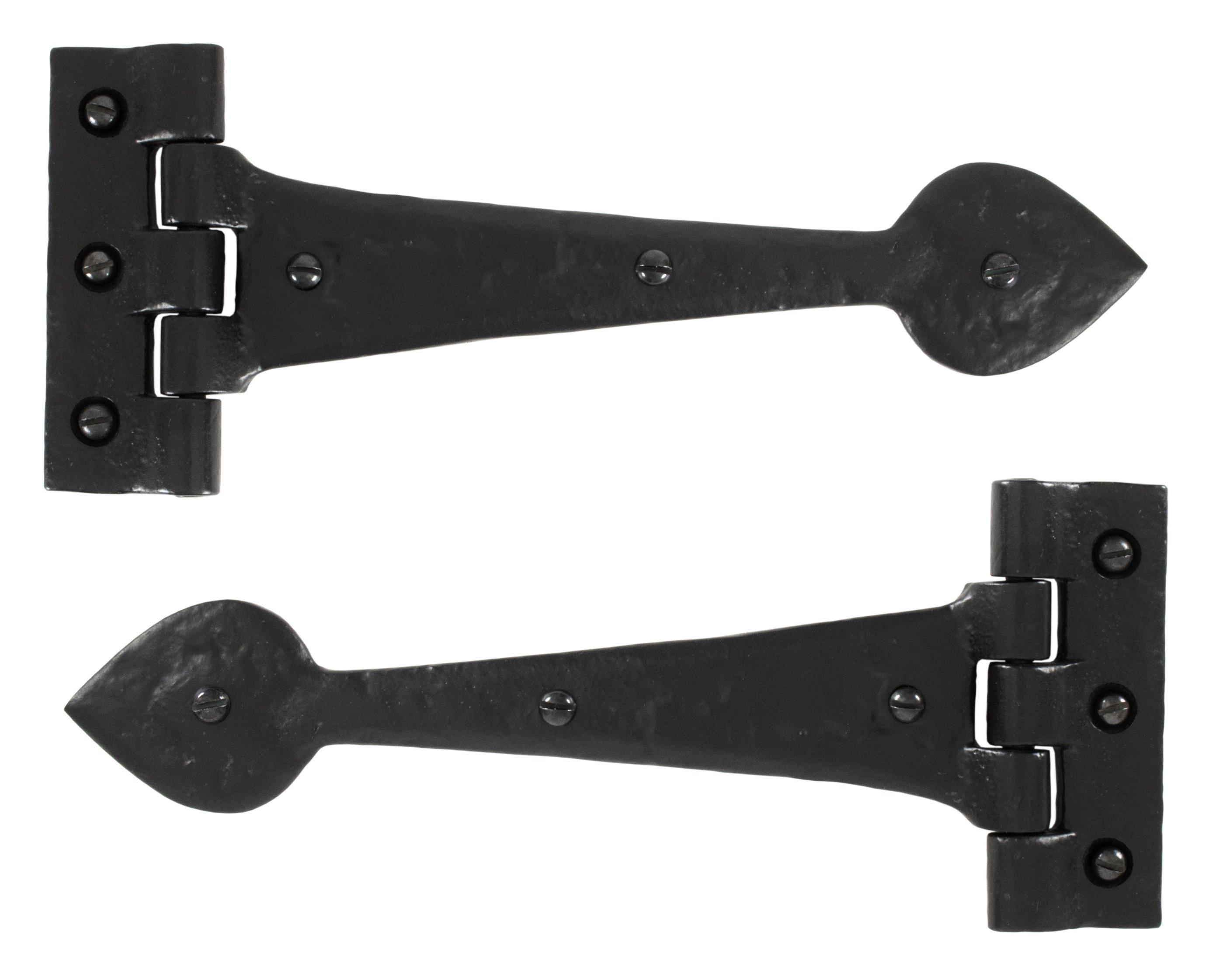 """Black Antique 10"""" T Hinge (pair)"""