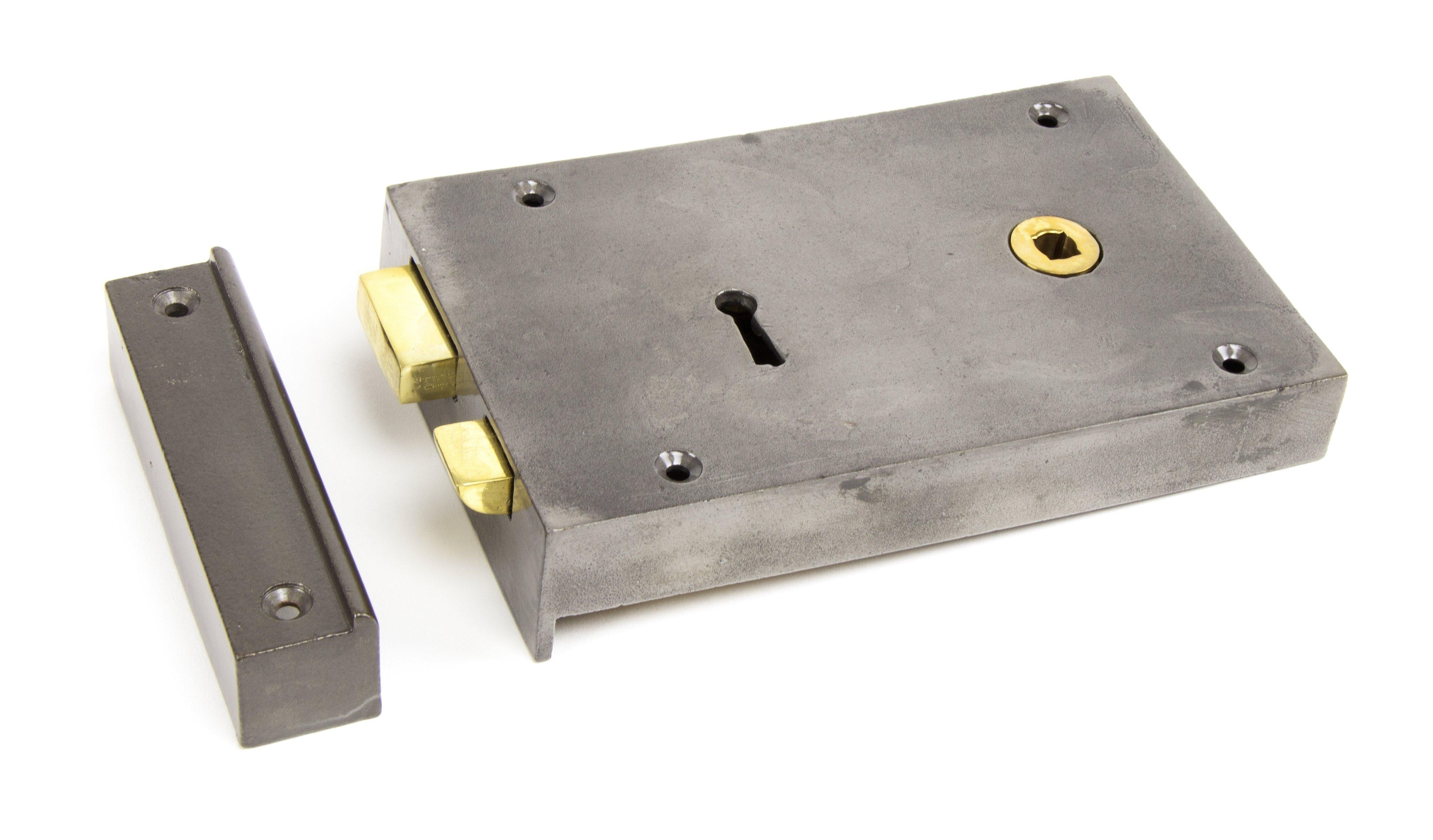 Iron Right Hand Rim Lock - Large