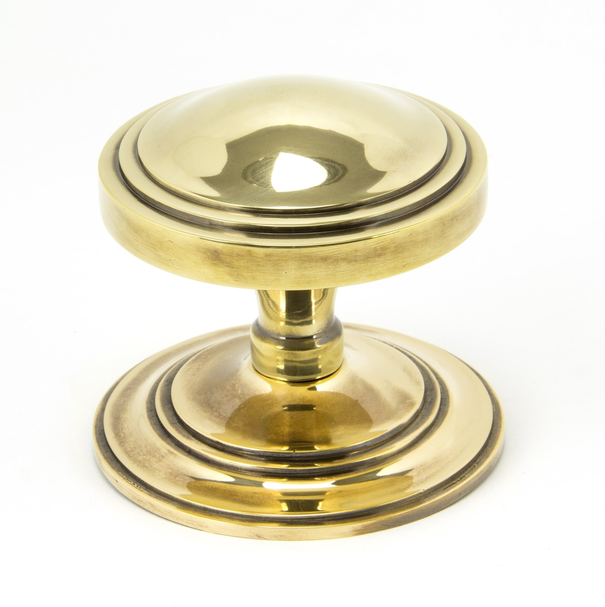 Aged Brass Art Deco Centre Door Knob