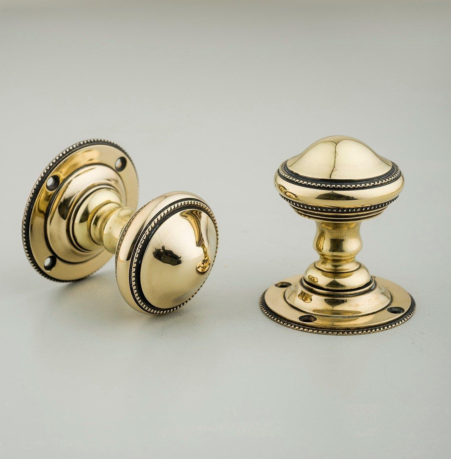 Beaded Edge Regency Door Knobs (Pair) - Brass - SAVE 10%