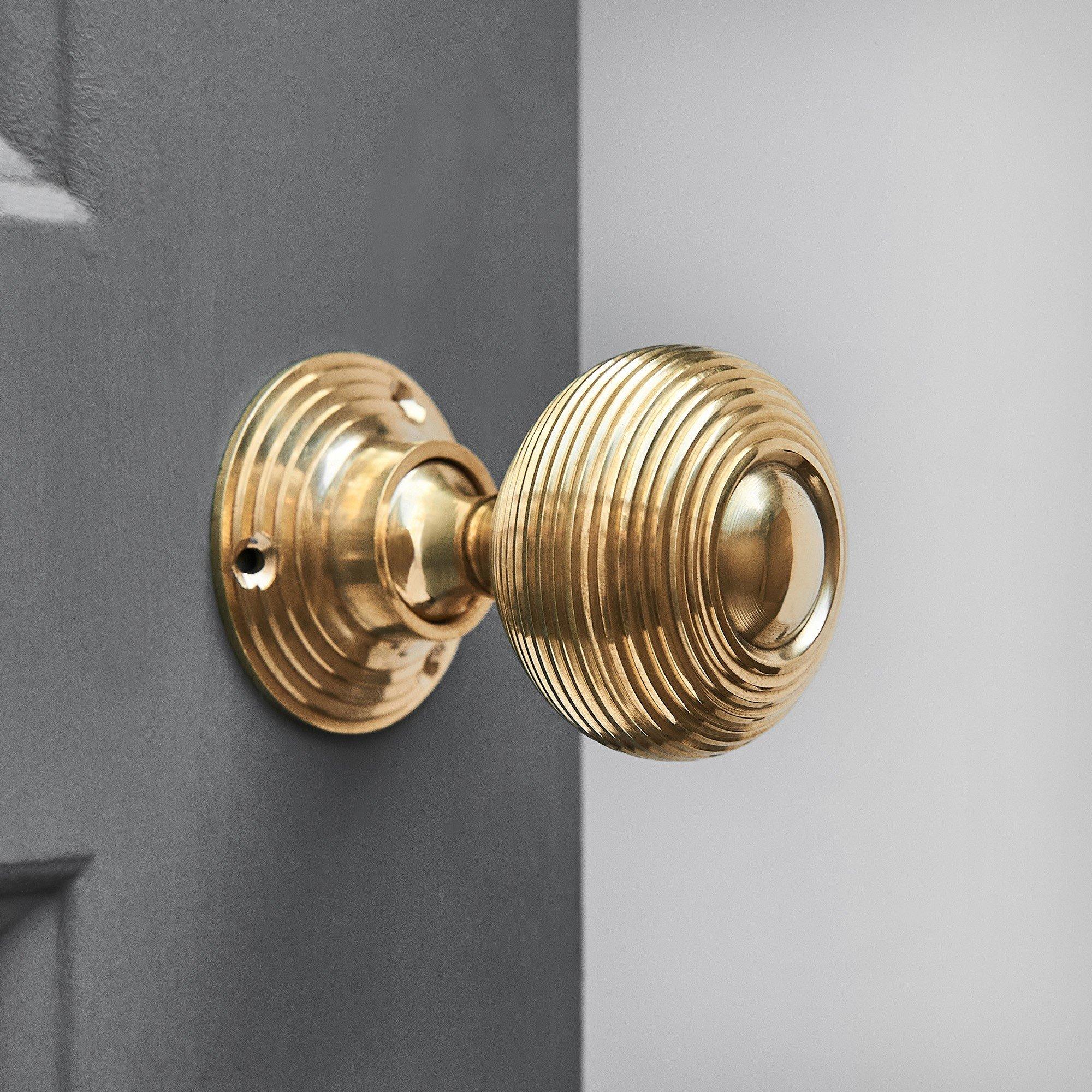 Beehive Door Knobs (Pair) - Polished Brass save 10%