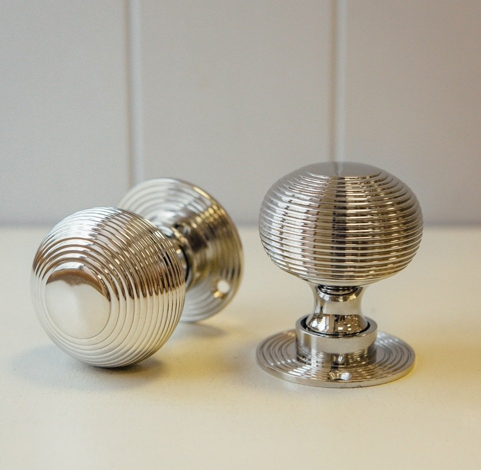 Beehive Mortice/Rim Door Knobs (Pair) - Nickel - SAVE 10%
