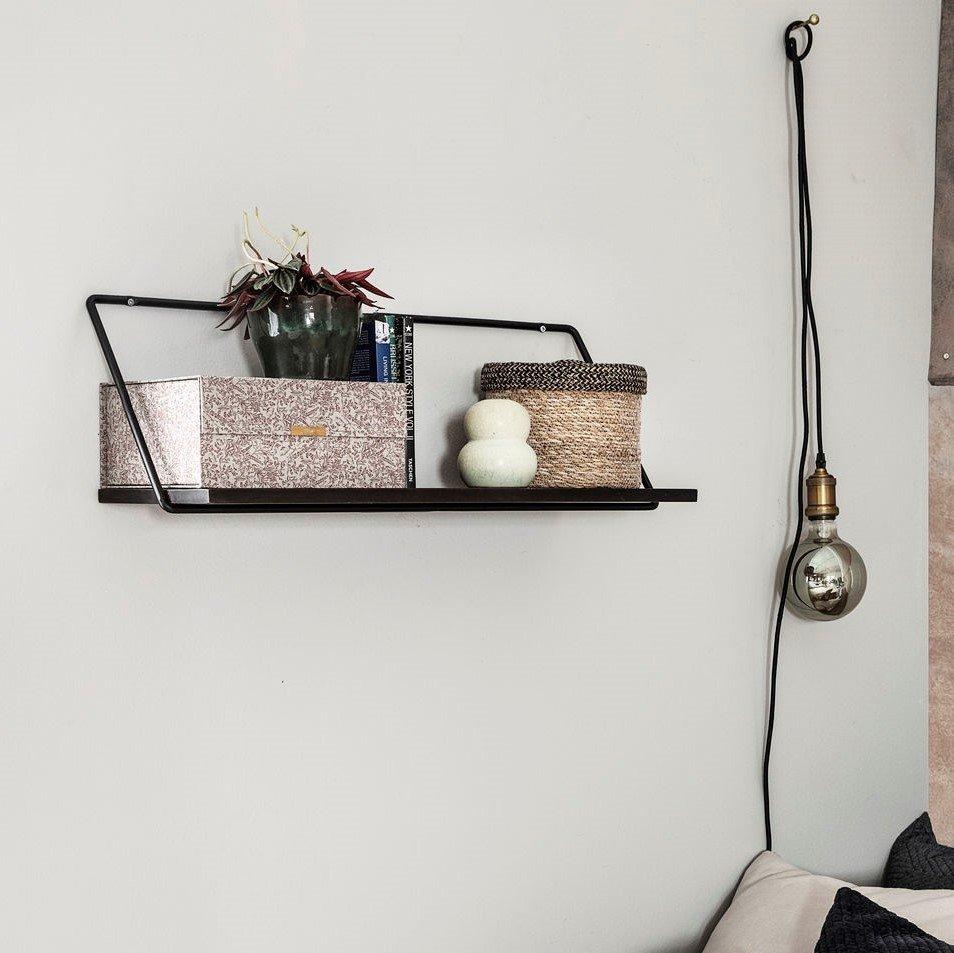 Black Metal & Wood Shelf - save 20%