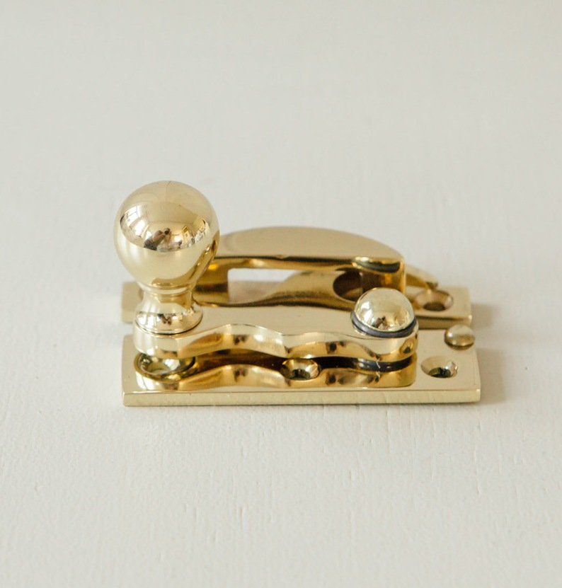 Bun Knob Sash Window Fastener - Brass