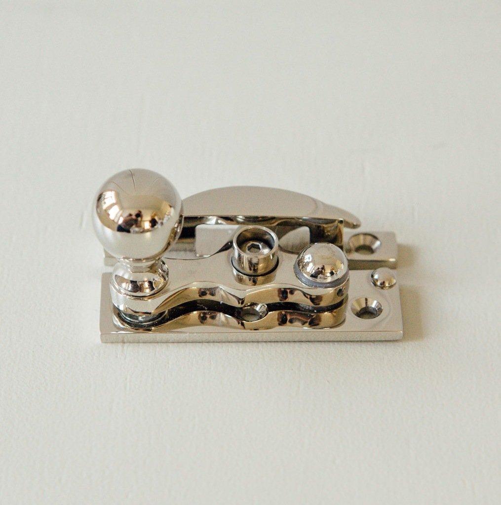 Bun Knob Sash Window Fastener - Polished Nickel