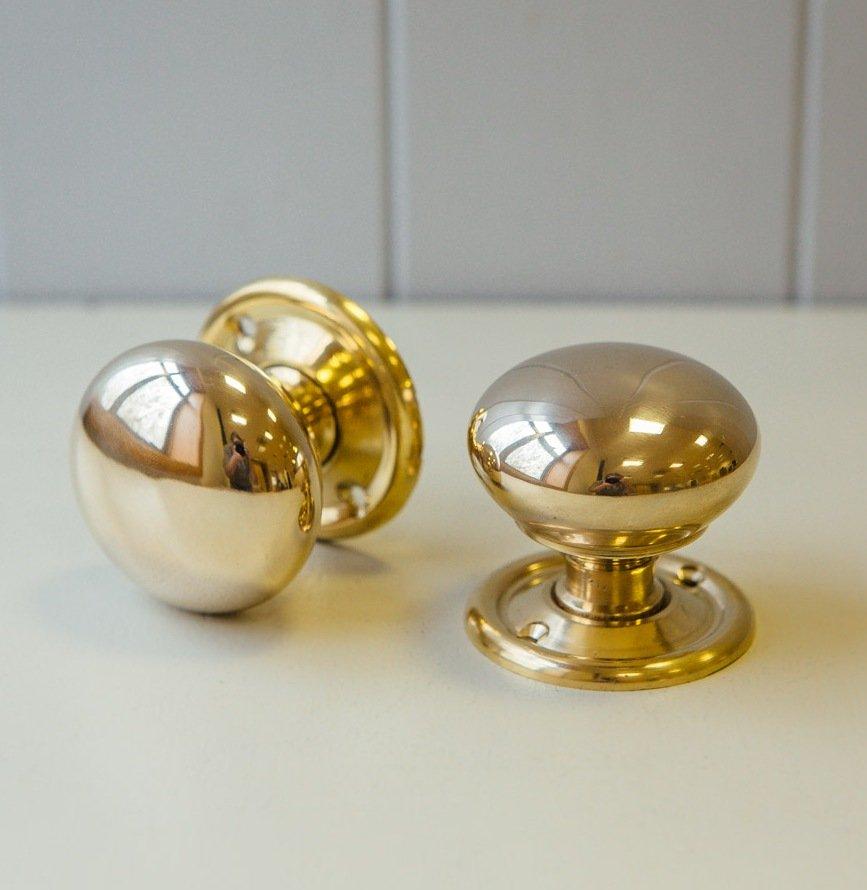Cottage Door Knobs Small (Pair) - Brass