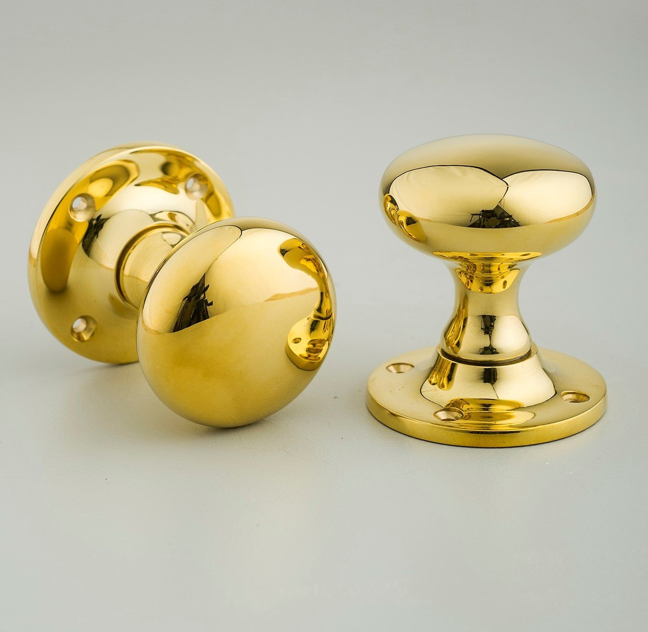 Cushion Door Knobs (Pair) - Brass