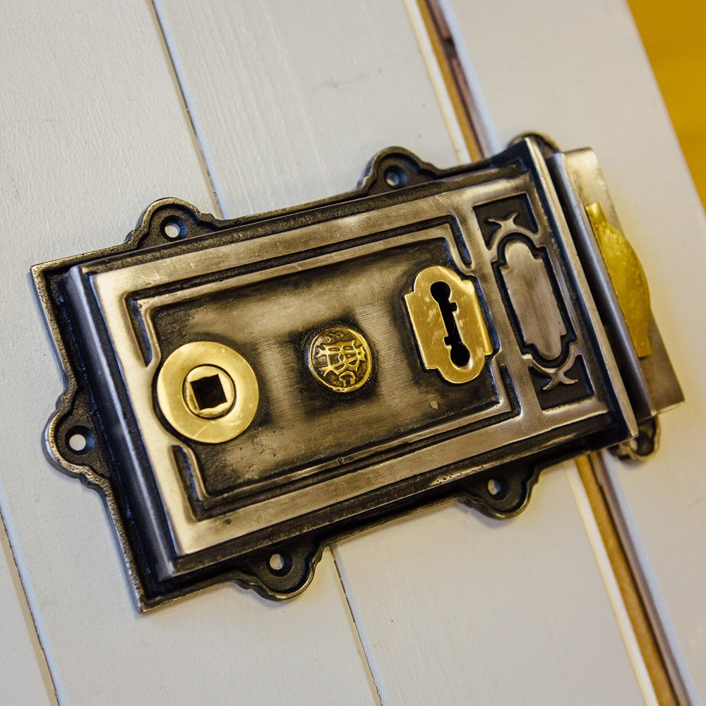 Large Victorian Style Rim Lock - Iron