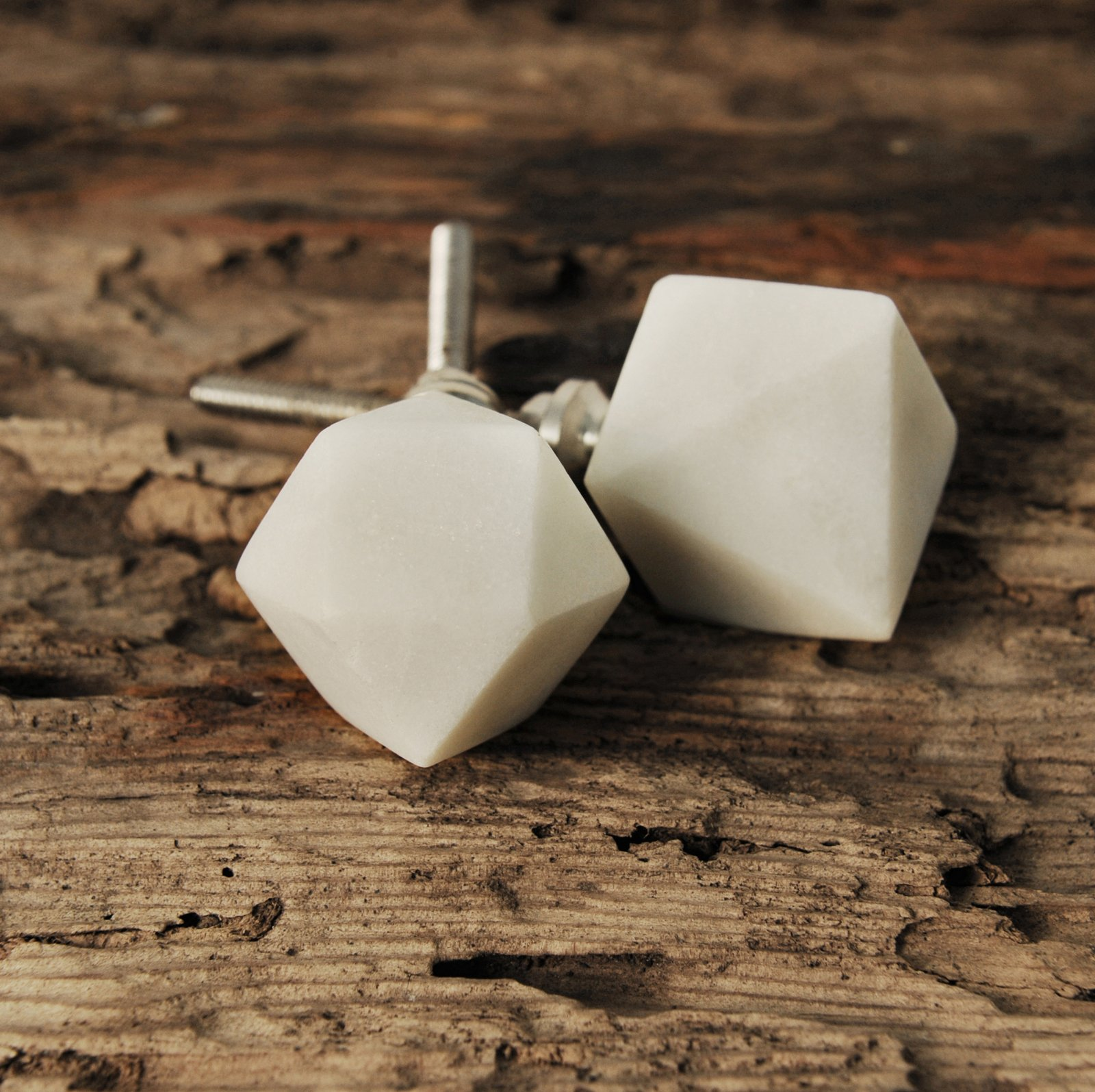 White Marble Cabinet Knob - Set of Two
