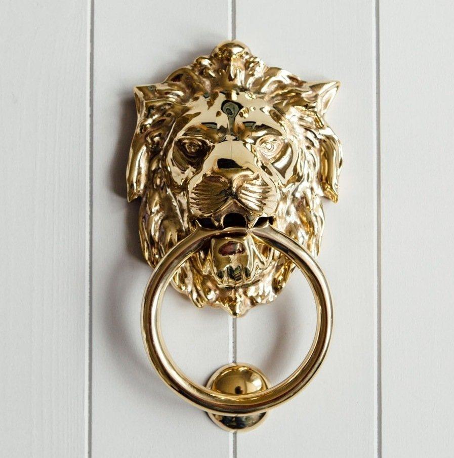 Empire Lions Head Door Knocker - Brass