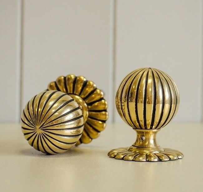 Flower Door Knobs (Pair) - Brass
