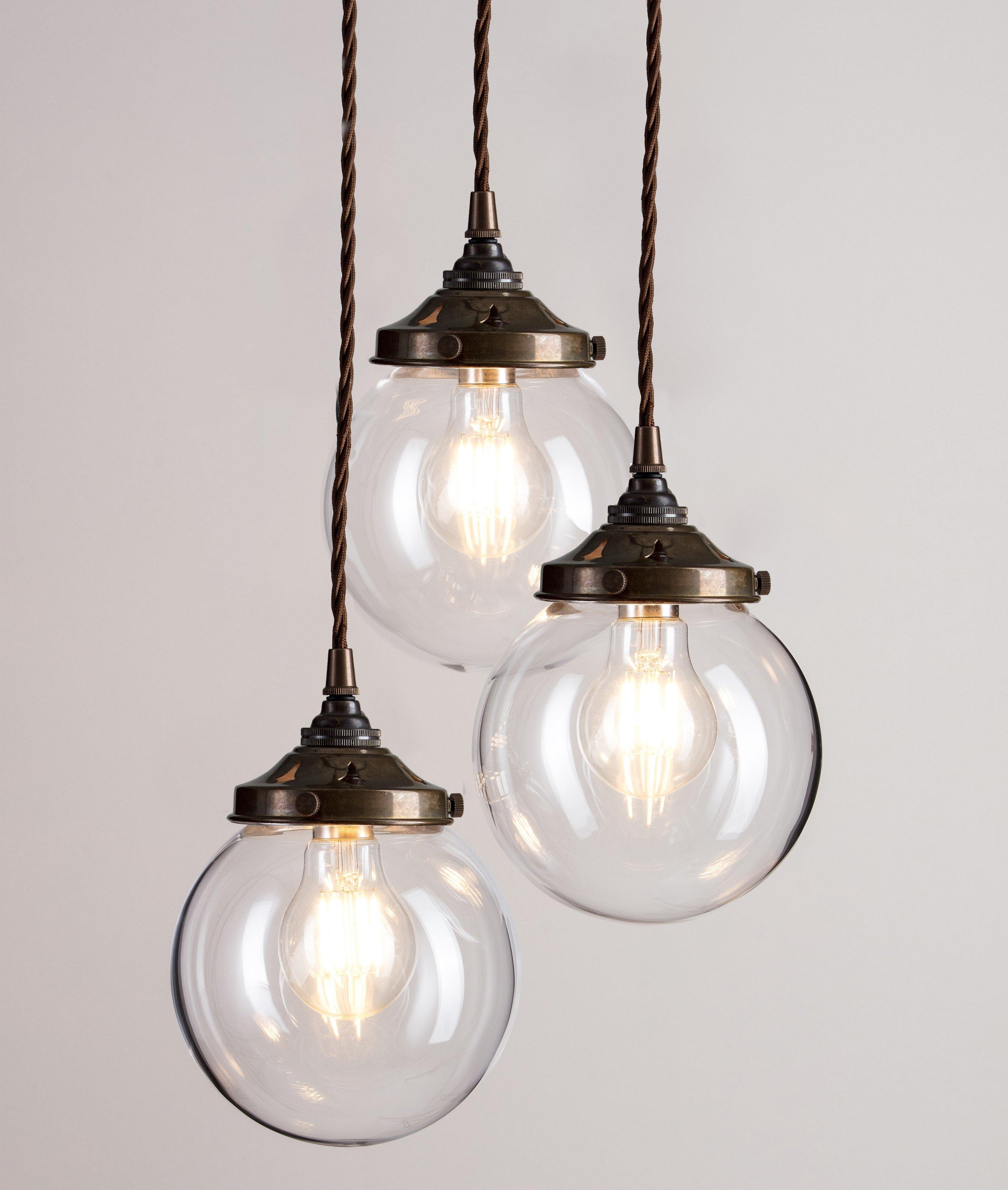 Glass Globe Cluster Pendant Light - Antique Brass