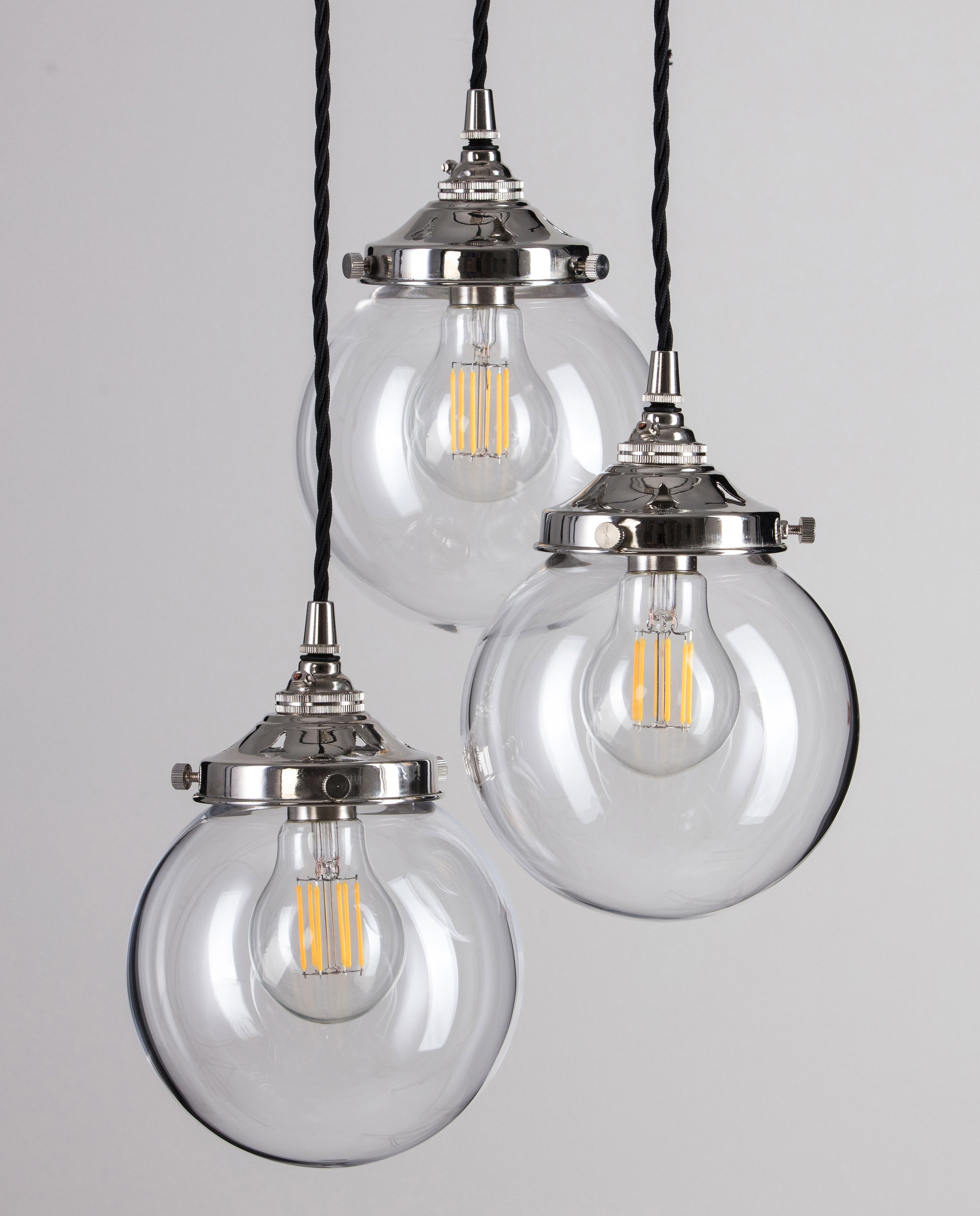 Glass Globe Cluster Pendant Light - Polished Nickel