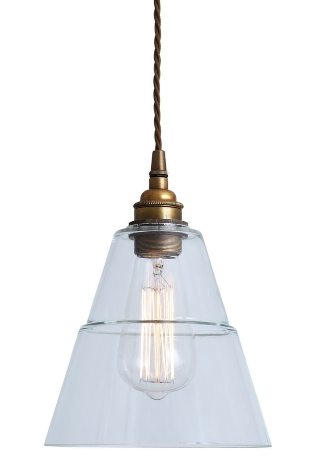Industrial Glass & Brass Pendant Light SAVE 50%