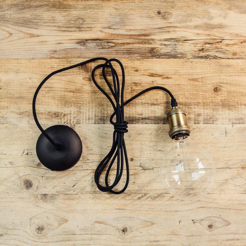 Vintage Style Pendant Set  - Antique Brass & Black Cable