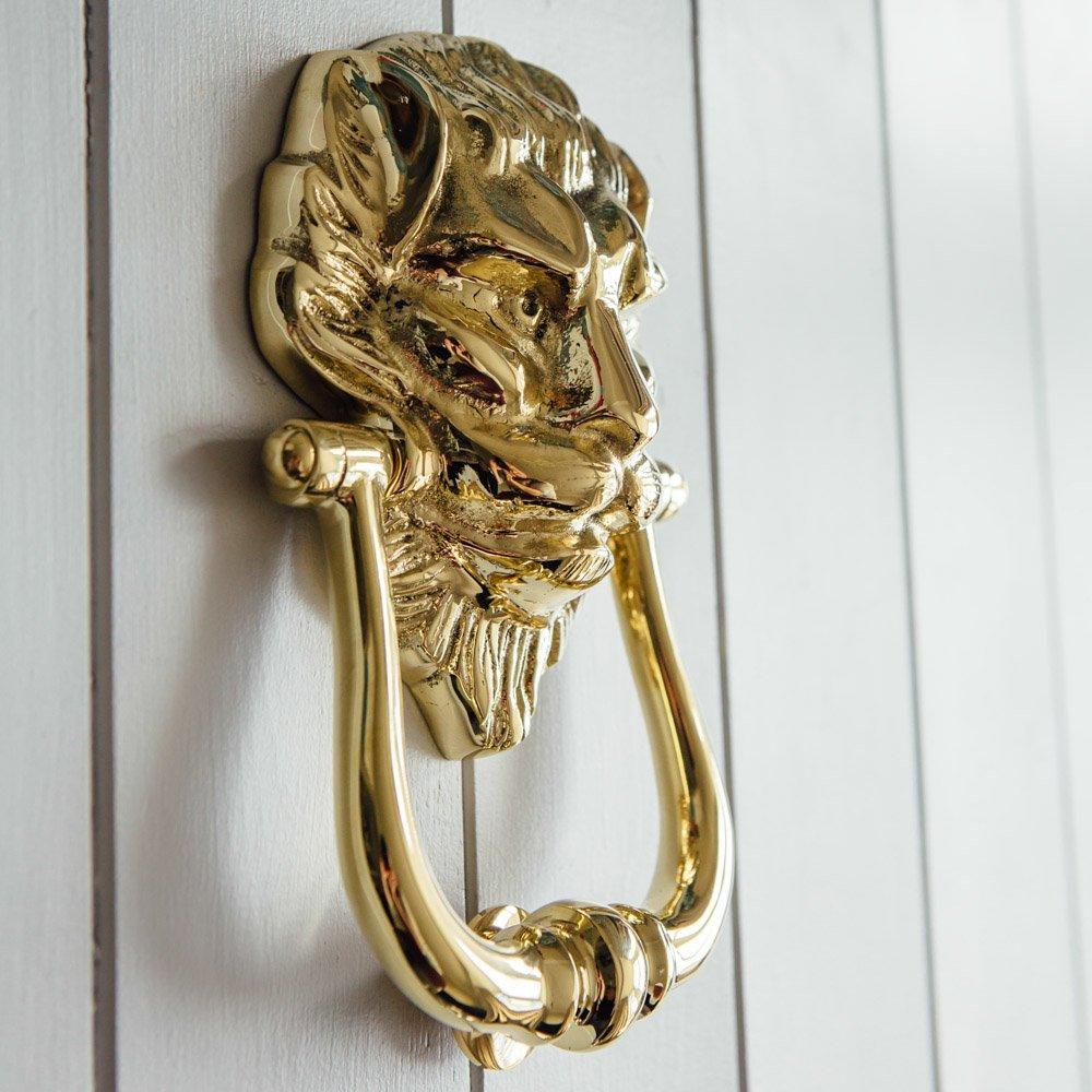 Large Lions Head Door Knocker - Brass