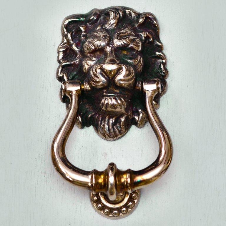 Lions Head Door Knocker Aged Nickel