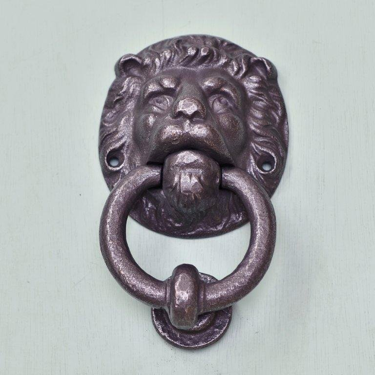 Lions Head Hand Forged Door Knocker - Patine save 40%