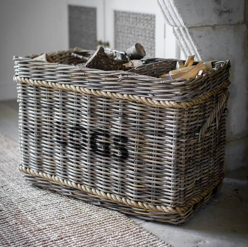 Log Basket With Rope Detail - save 25%