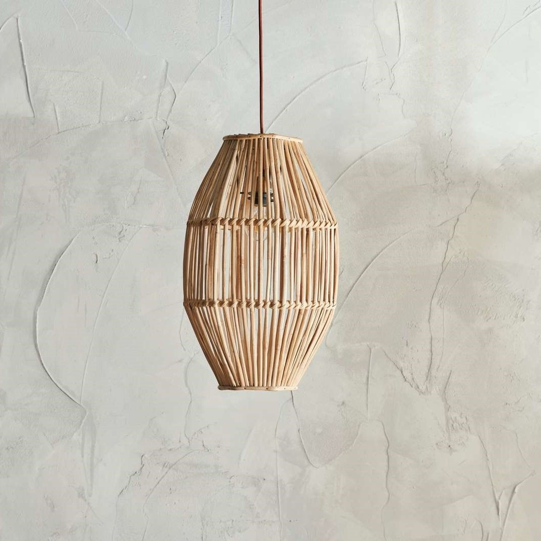 Natural Cane Pendant Light (Long)