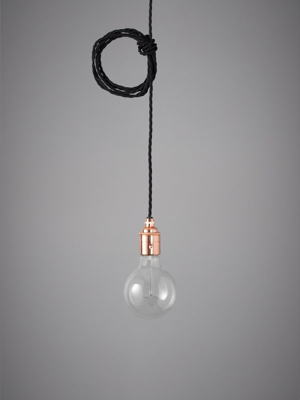 Vintage Style Pendant Set - Copper Finish & Raven Black Cable