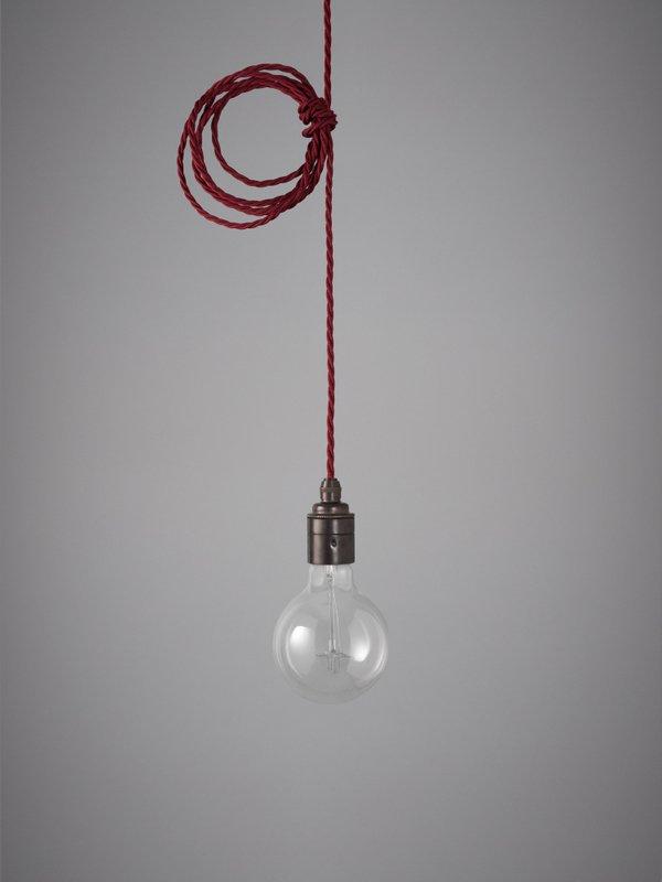 Vintage Style Pendant Set - Antique Finish & Burgundy Cable
