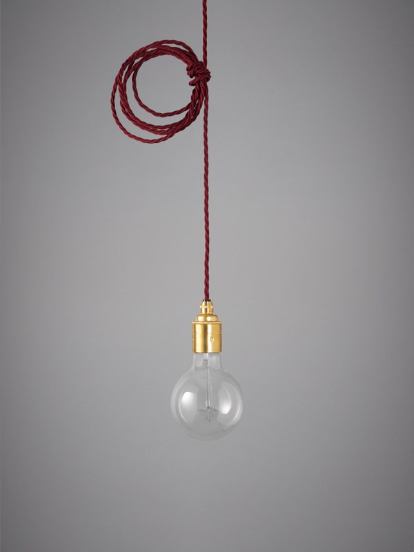 Vintage Style Pendant Set - Brass Finish & Burgundy Cable