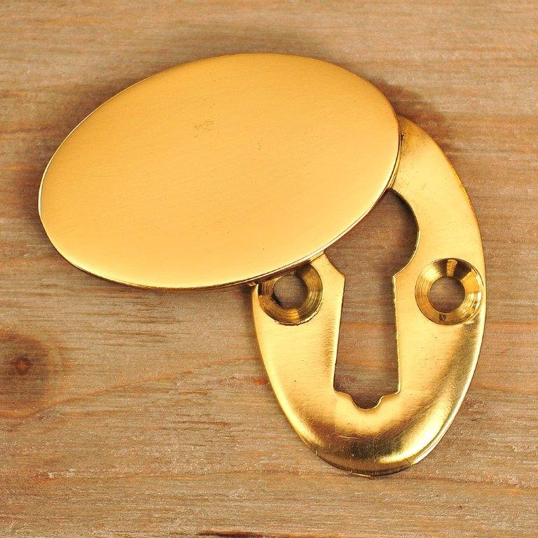 Oval Covered ' Braemar' Escutcheon - Brass