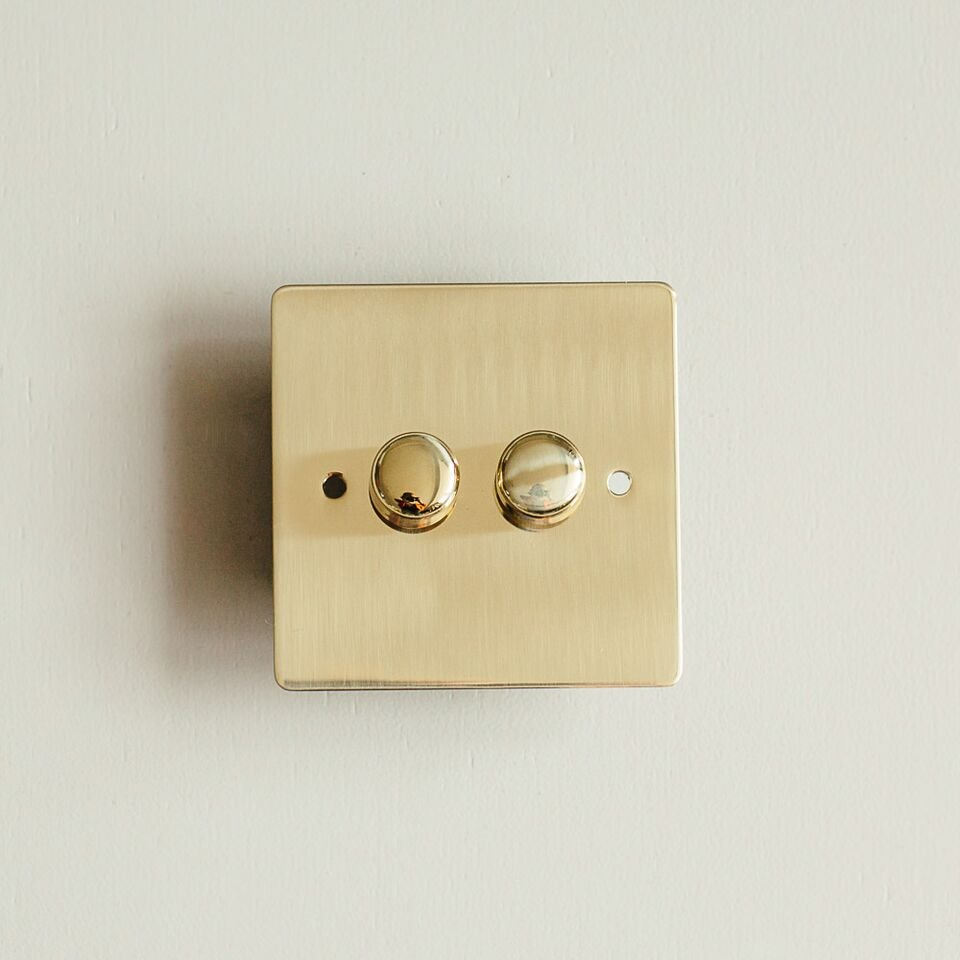 2 Gang Dimmer Switch - Polished Brass