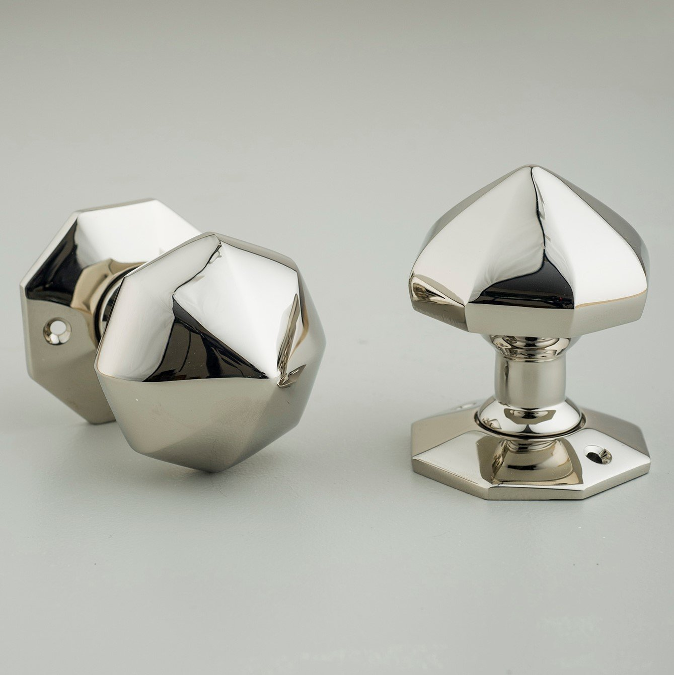 Pointed Octagonal Door Knobs (Pair) - Polished Nickel