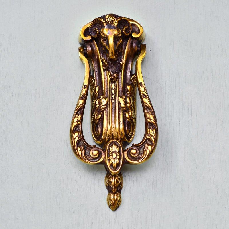 Rams Head Door Knocker - Aged Brass