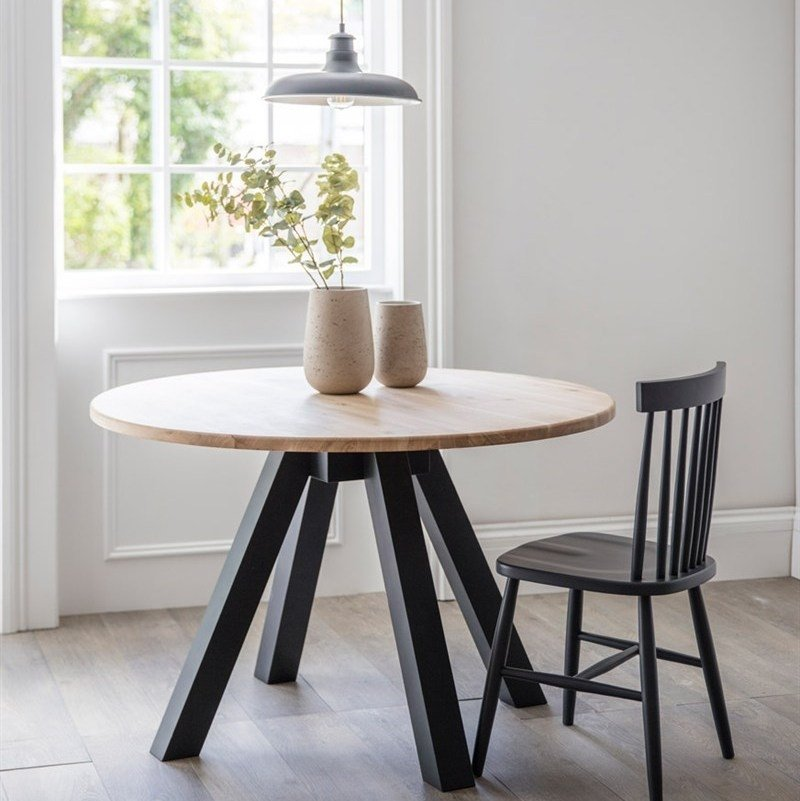 Raw Oak Dining Table - Carbon Legs