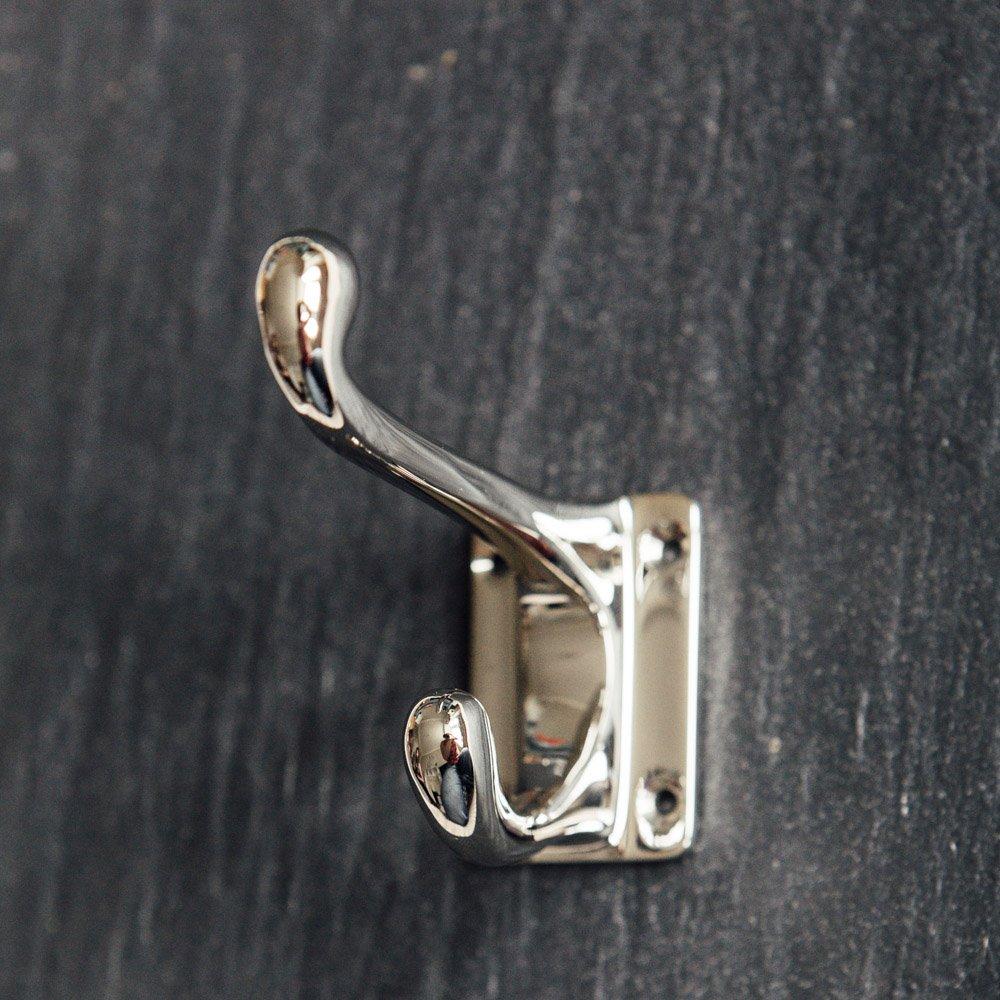 Hat and Coat Hook - Rectangular Base - Polished Nickel