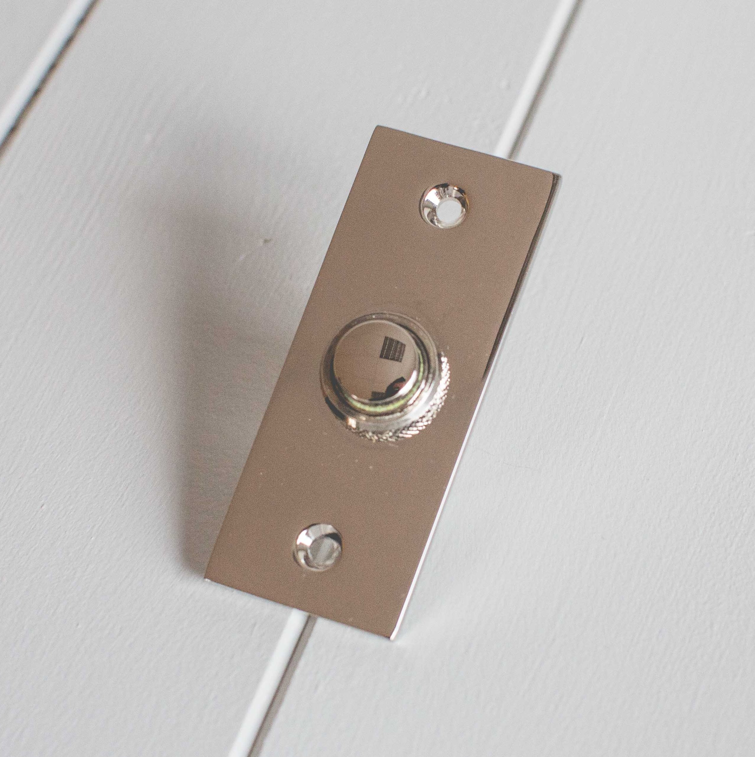 Rectangular Bell Push- Polished Nickel