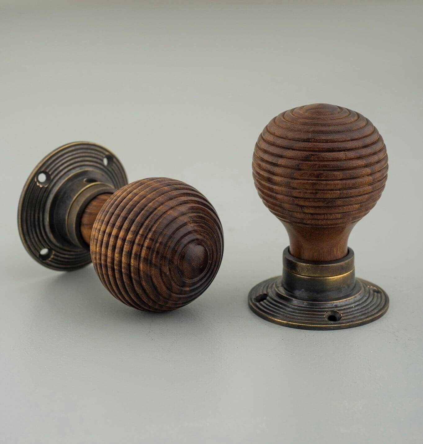 Rosewood Beehive Knobs (Pair) - Aged Brass Collar & Rose