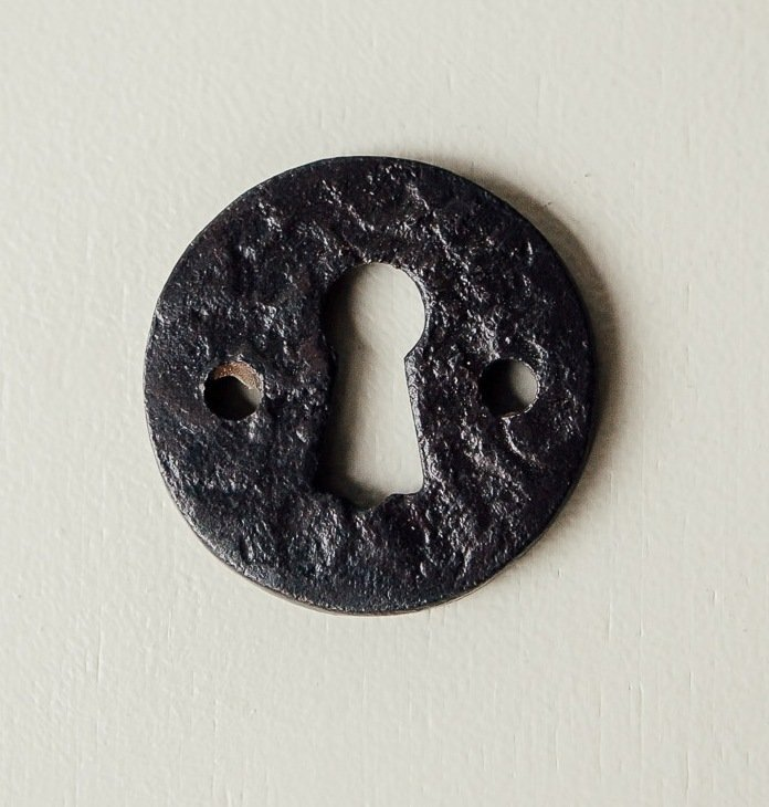 Round Hand Forged Escutcheon - Black Waxed
