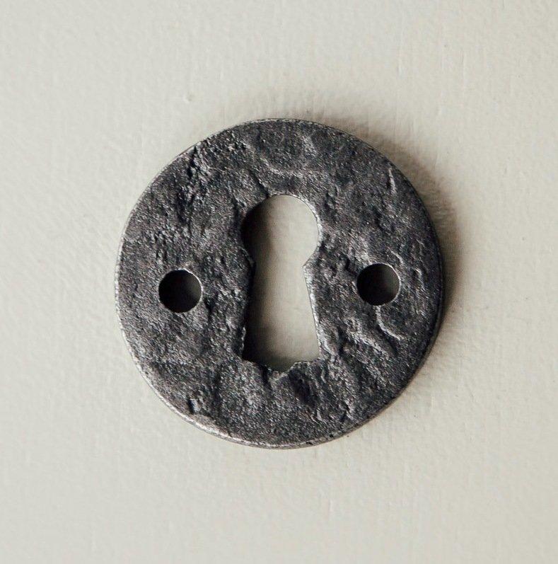 Round Hand Forged Escutcheon - Patine