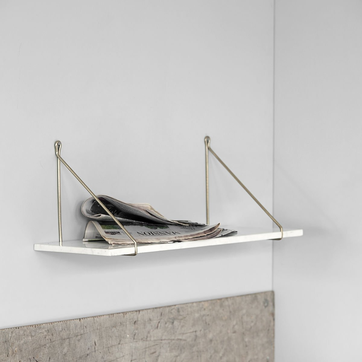 Marble Shelf with Brass Brackets