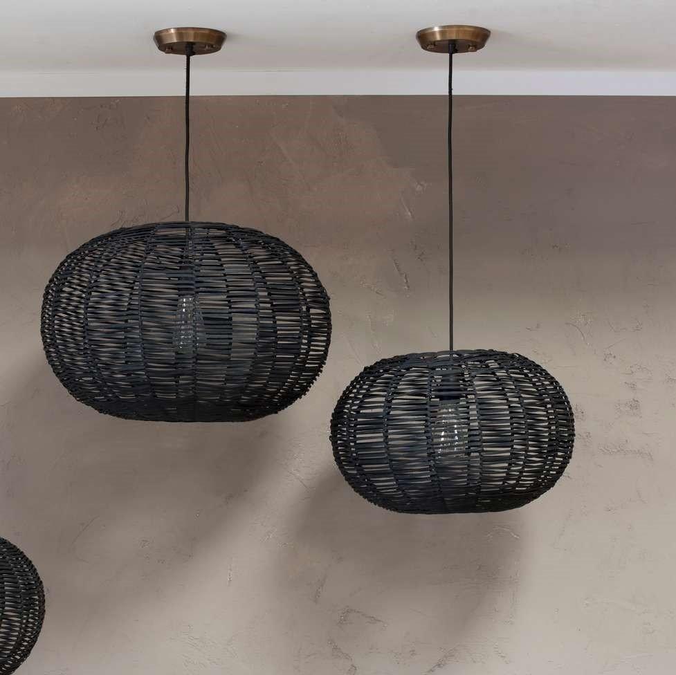 Wicker Pendant Light - Black (Large)