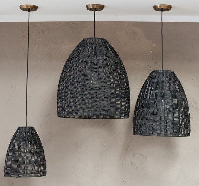 Woven Pendant Light - Black