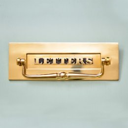 Classic Letterplate  With Clapper - Brass