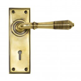 Aged Brass Reeded Lever Lock Set image