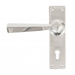 Polished Chrome Straight Lever Lock Set