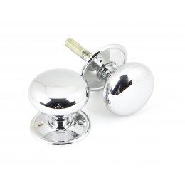 Polished Chrome Mushroom Mortice/Rim Knob Set