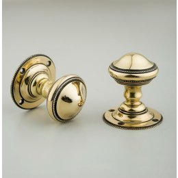 Beaded Edge Regency Door Knobs (Pair) - Brass - SAVE 20%