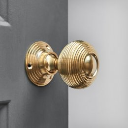 Beehive Door Knobs (Pair) - Polished Brass