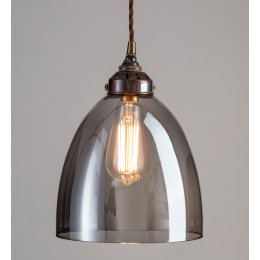 Bell Smoked Glass Pendant Light - Large